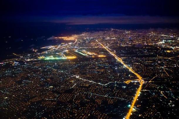 Die philippinische Hauptstadt Manila bei Nacht