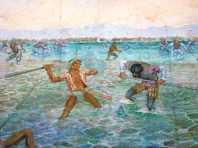 Ausschnitt eines Gemäldes zur Schlacht um Mactan