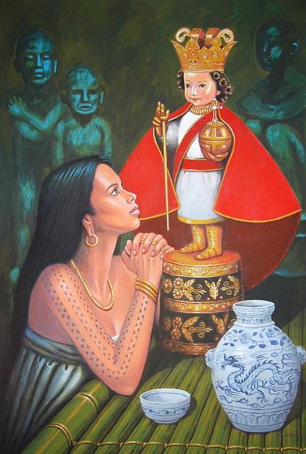 Die schöne Königin Hara Humamay verehrt die ihr geschenkte Sto-Nino-Statue